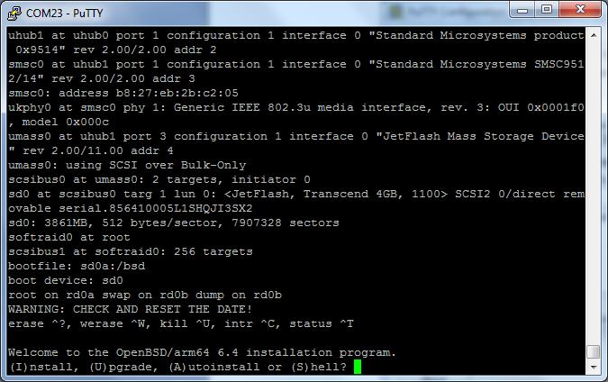 Установка OpenBSD на Raspberry Pi 3 Model B