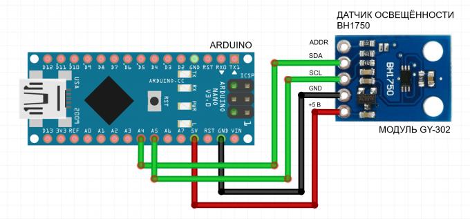 Подключение датчика освещенности GY-302 BH1750FVI к Arduino