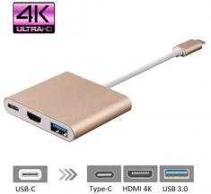 Адаптер 3 в 1 Type-C to HDMI+PD+USB 3.0