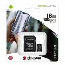 Kingston 16GB micSDHC Canvas Select Plus 100R A1 C10 Card + ADP